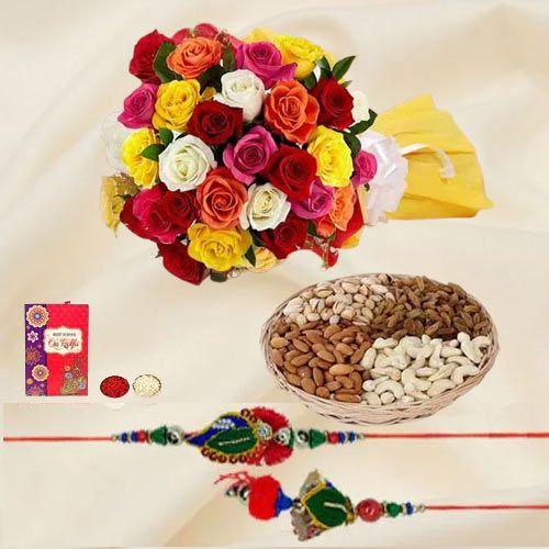 Impressive Lumba N Rakhi Set with Dry Fruits n Colorful Roses Bouquet