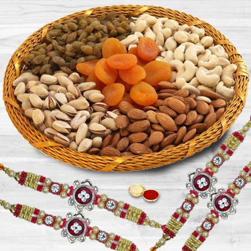 Glamorous Set of 4 Rakhis with Dry Fruit Basket, Roli Teeka n Card