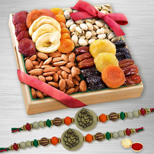 Ethnic Ganesh Rakhi Set of 2 with Assorted Dry Fruits in Wooden Tray