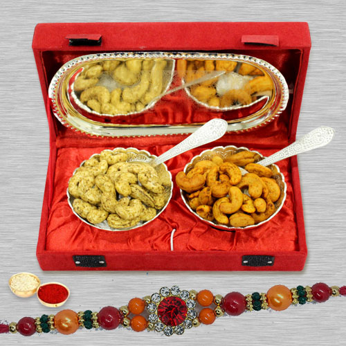Graceful Stone Rakhi with Cashews in Silver Plated Bowl n Tray