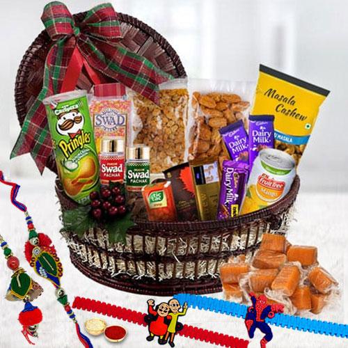 Elegant Family Rakhi Set with Exclusive Gourmet Gift Basket