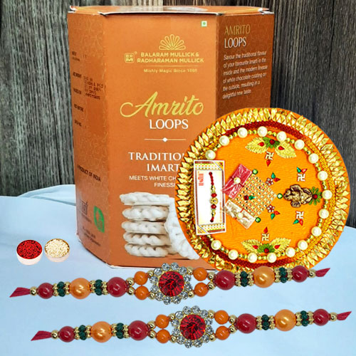 Stylish Stone Rakhi Pair with Tasty Imarti N Puja Thali