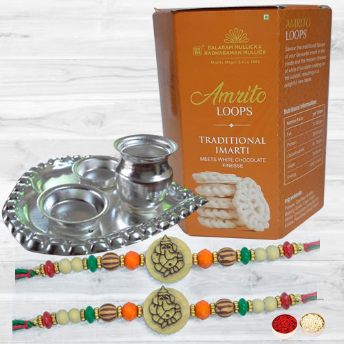 Pious Ganesh Rakhis with Delicious Imarti N Silver Plated Thali