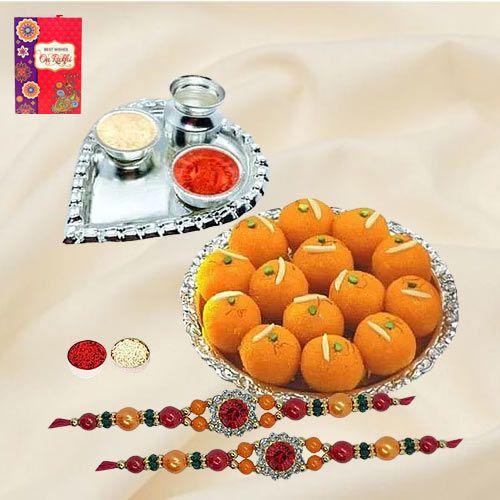 Trendy Stone Rakhis with Haldiram Motichur Laddoo, Roli Tika N Card