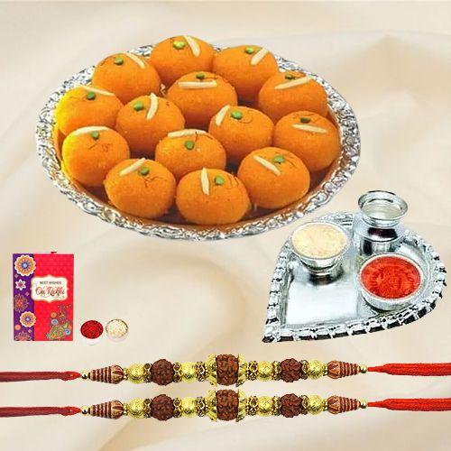 Holy Rudraksha Rakhi Set N Haldiram Motichur Laddoo with Rakhi Card