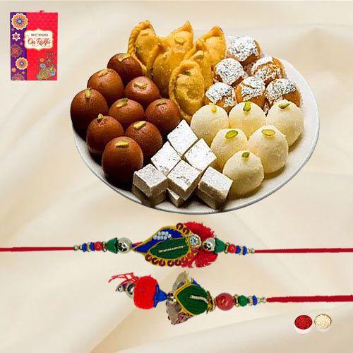 Remarkable Lumba Rakhi Set N Assorted Sweets from Bhikaram