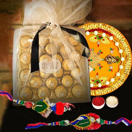 Classy Bhaiya Bhabhi Rakhi with Ferrero Rocher n Puja Thali