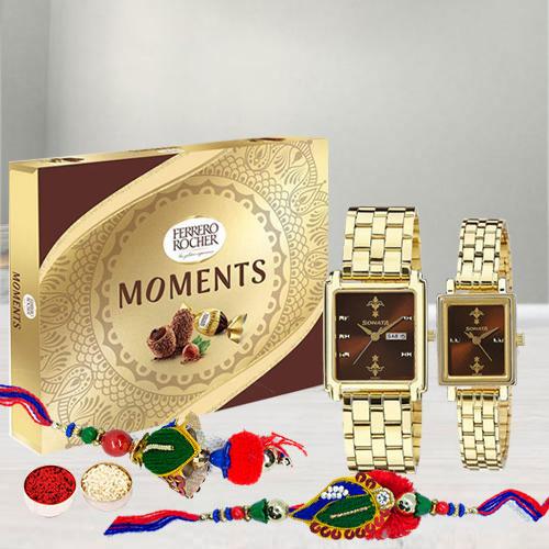 Smarty Lumba Rakhi Set with Sonata Pair Watch N Ferrero Rocher Moments