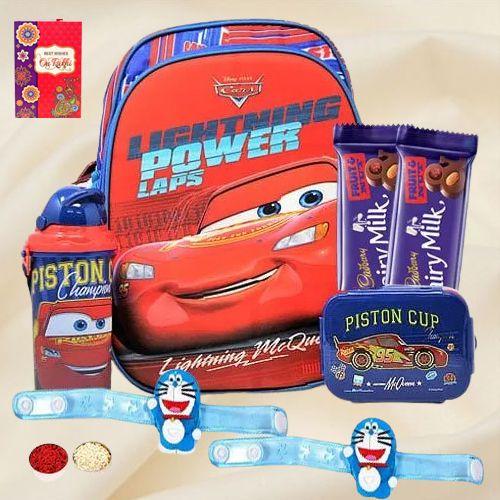 Stylish Doremon Rakhi, Dairy Milk Chocolate N Kid's Backpack Set
