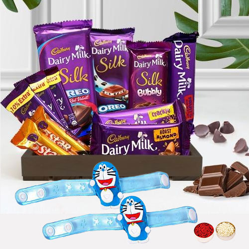 Smarty Doremon Rakhi with Cadbury Chocolate Delight Hamper