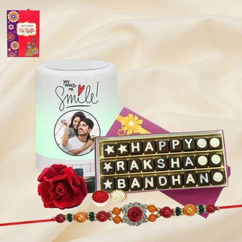 Attractive Stone Rakhi with Handmade Chocolates N Personalized Speaker