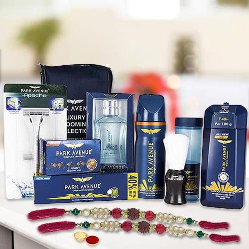 Exquisite Rudraksha Rakhi N Park Avenue Mens Essential Kit