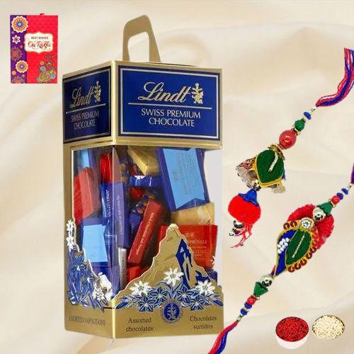 Fabulous Lumba Rakhi Set with Swiss Lindt Chocolates