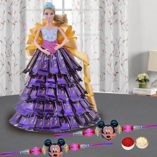 Trendy Mickey Rakhi Set N a Lovely Doll with Chocolate Dressing