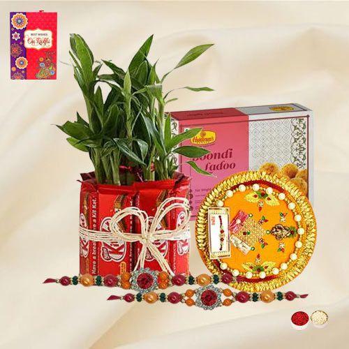 Classy Rakhi Set with Kitkat N Plat Arrangement, Sweets N Thali