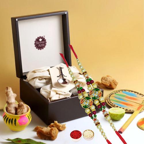 Exquisite Memories of Kolkata Gift Pack with Duel Ethnic Rakhi