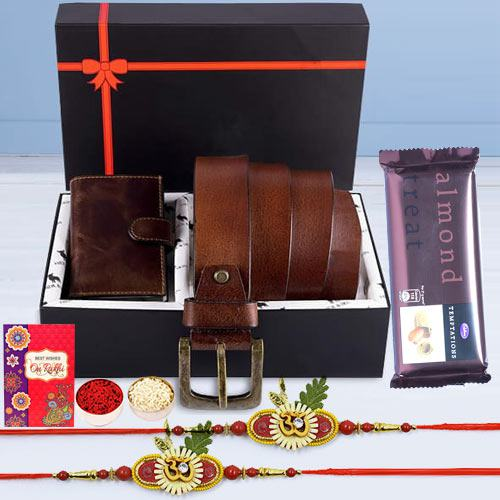 Holy OM Rakhi Pair with Card Holder, Belt, KN95 Mask N Cadbury Temptation