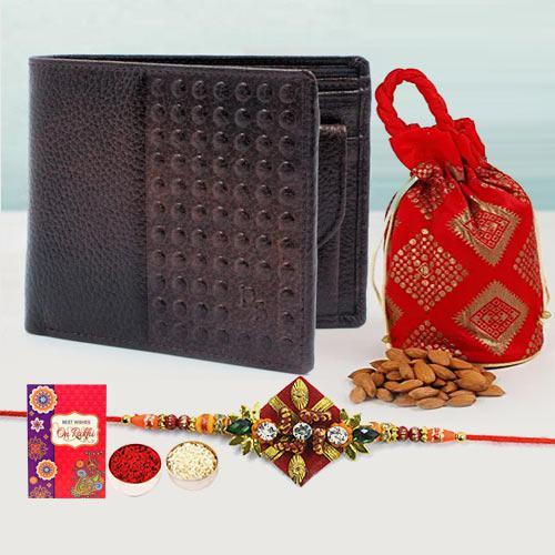 Cool Zardosi Rakhi with Brown Leather Wallet N Almond Potli