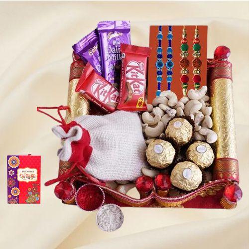 Fancy Bead n Rudraksha Rakhi with Chocolate Assortment n Cashews