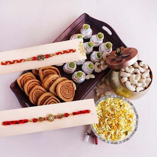 Ethnic Twin Rakhi with Sweets N Savory Combo