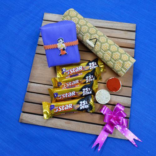 Fancy Chota Bheem Rakhi N Cadbury 5 Star in Reusable Bamboo Box