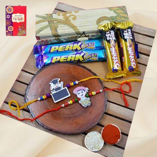 Classic Kids Rakhi Pair N Cadbury Assortments in Bamboo Box