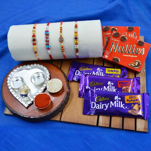 Trendy Stone Rakhi Set with Silver plated Thali n Chocolate Assortment