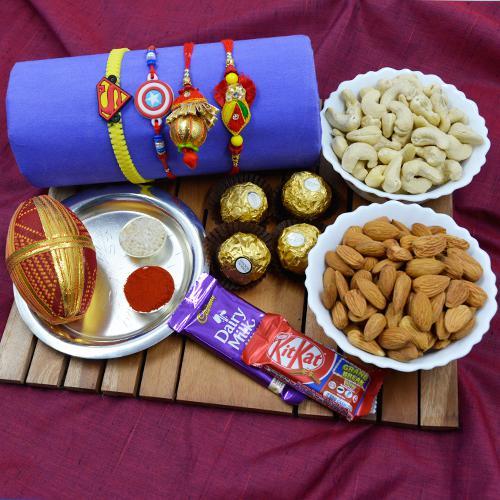 Lovely Family Rakhi Set with Puja Thali, Dry Fruits n Chocolates