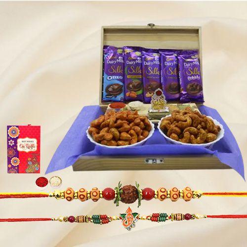 Classy Rakhi Set with Mandap, Flavor Cashews n Cadbbury Chocolates