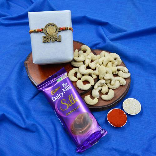 Trendy Chota Bheem Bhai Rakhi with Cashews N Cadbury Silk