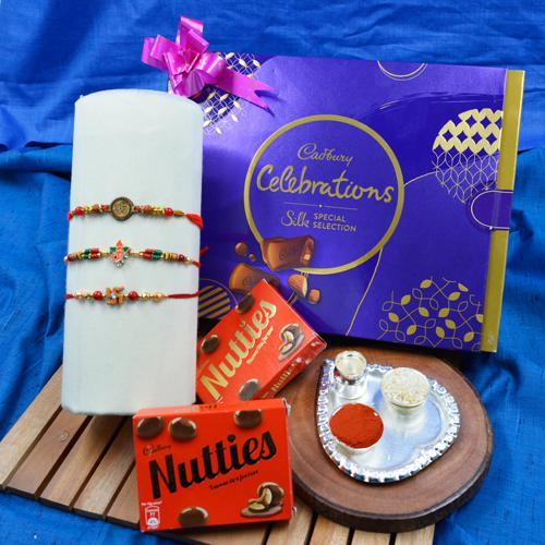 Graceful Rakhi Set of 3 with Cadbury Chocolates