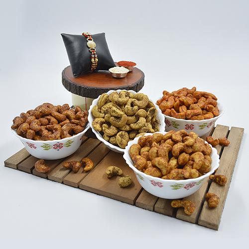 Gorgeous Pearl Rakhi with Flavored Cashews Assortments