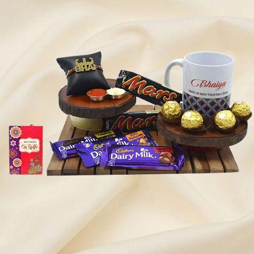 Cool Strong Bhai Rakhi with Bhaiya Coffee Mug N Assorted Chocolates