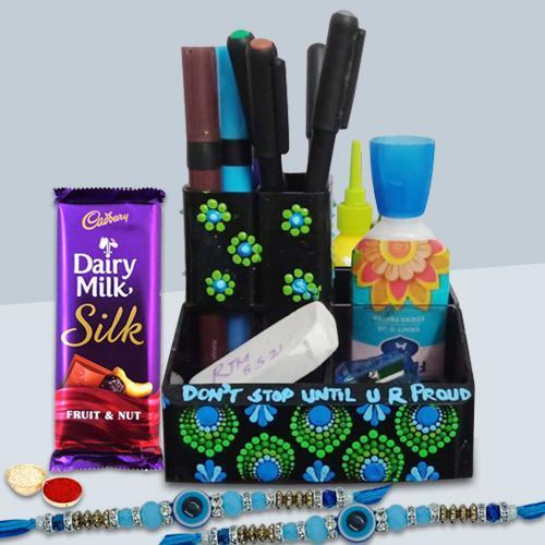 Suave Dot Mandala Art Pen Stand with Evils Eye Rakhi Pair n Cadbury Fruit n Nut