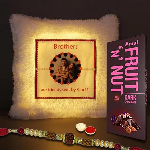 Cool Customized LED Cushion with Rudraksha Rakhi Set n Amul Fruit n Nut
