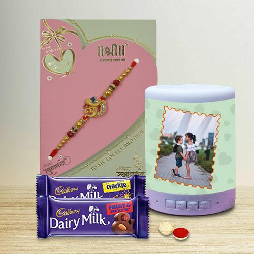 Cool Personalized Bluetooth Speaker with Golden Om-Ganesh  Rakhi n Cadbury Dairy Milk