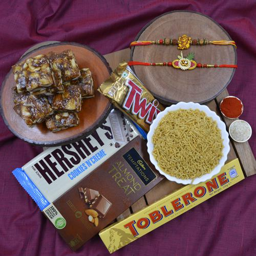 Fancy Rakhi Set with Haldiram Sweets  N  Savory N Chocolates Hamper