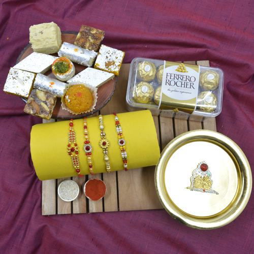 Lovely Stone Rakhi with Haldiram Sweets, Chocolates, Puja Thali N Mandap
