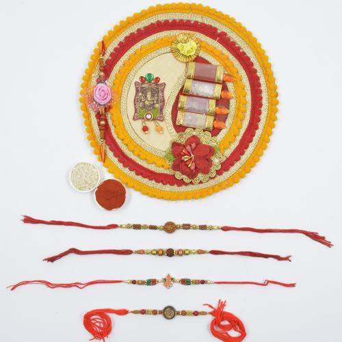 Traditional Rakhi Set of 4 with Shree Rakhi Pooja Thali