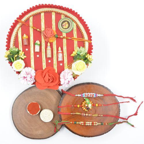 Flattering Stone Rakhi Set of 4 with Shree Rakhi Pooja Thali