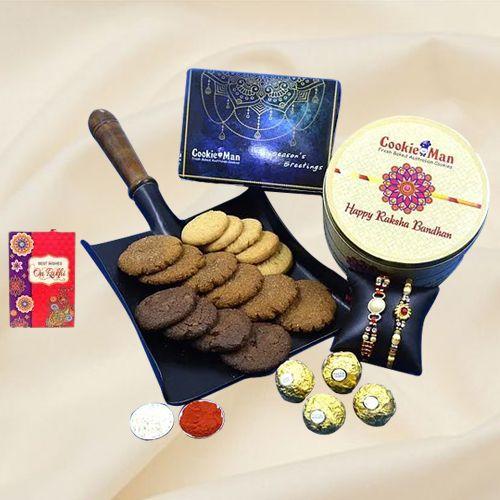 Splendid Assorted Cookies N Ferrero Rocher for Rakshabandhan