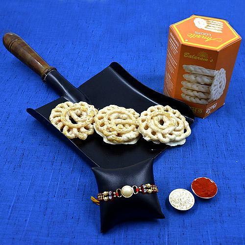Showy Stone Rakhi with Balaram Mullicks White Chocolate Imarti <br>
