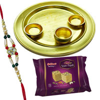 Soan Papri from <font color=#FF0000>Haldiram</font> with Silver Plated Thali and  free Rakhi, Roli Tilak and Chawal