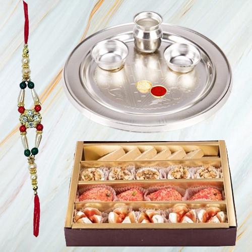 Showy Thali and Endearing Aura of Raksha Bandhan with Toothsome Sweets