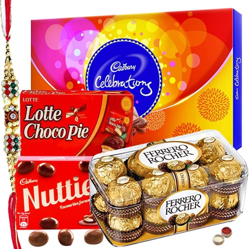 Rakhi Gifts - Chocolate Hamper N Rakhi