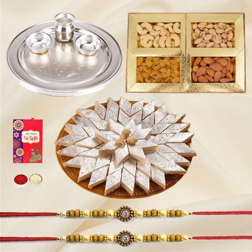 Special Gold Thali with <font color=#FF0000>Haldiram</font> Kaju Katli and Dry Fruits with Free Rakhi