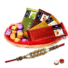 Wonderful Chocolate Gift Basket with Pearl Rakhi