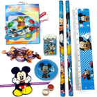 Petite Mickey Mouse Stationery Set with Mickey Rakhi and Cadbury Eclairs Toffee