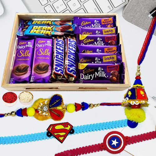 Assorted Chocolates with Family Set Rakhi