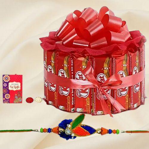 Enticing Kitkat Arrangement with Fancy Rakhi